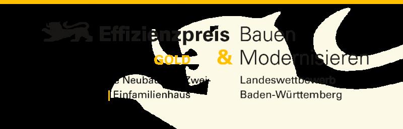 Siegel Effizienzpreis Baden-Württemberg Gold Einfamilienhaus Neubau Schuler architektenSiegel Effizienzpreis Baden-Württemberg Gold Einfamilienhaus Neubau Schuler architekten